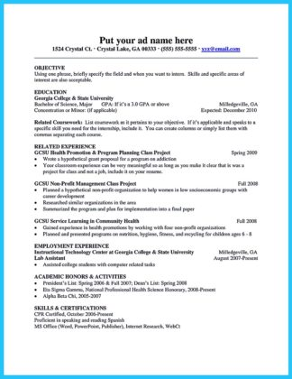 college student resume education section