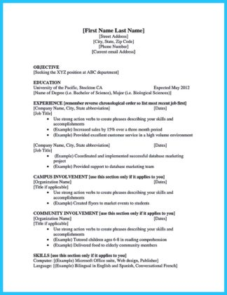 college student resume examples summer job