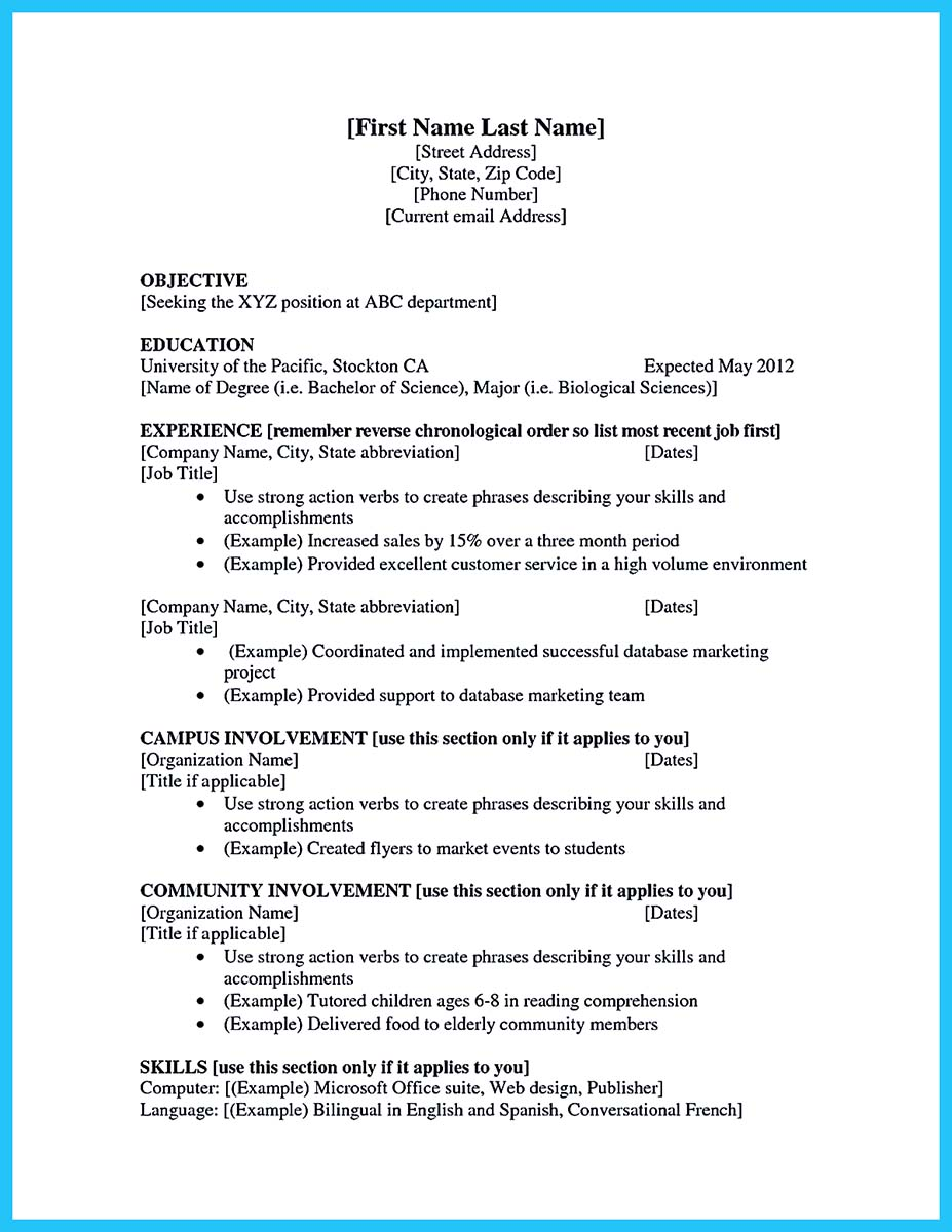 Best current college student resume with no experience for First time job resume for high school student