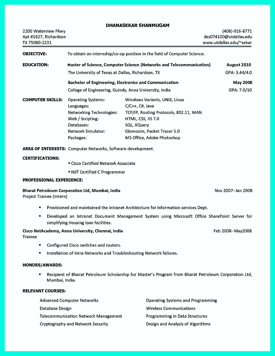 college student resume profile