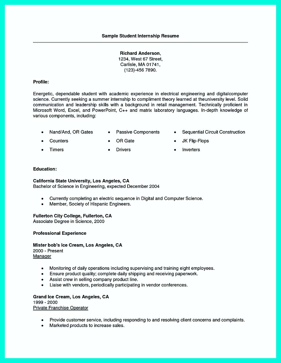 Summer internship resume objective