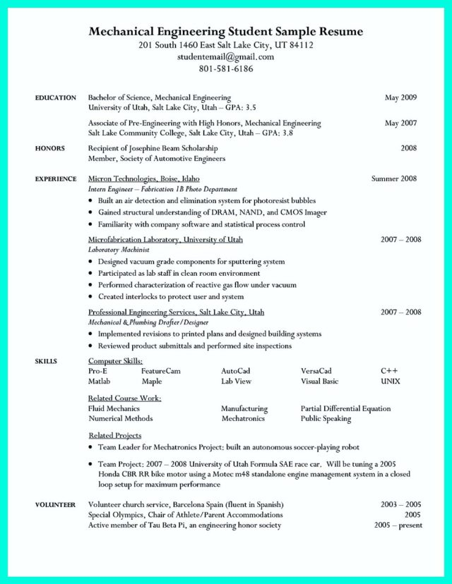 college student resume with no work experience