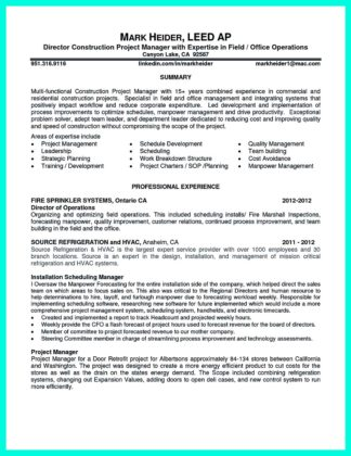 commercial construction project manager resume