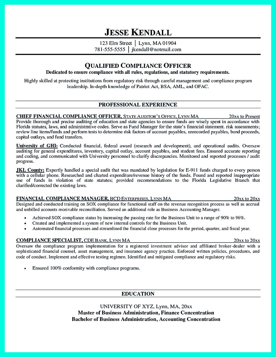 compliance officer resume objective