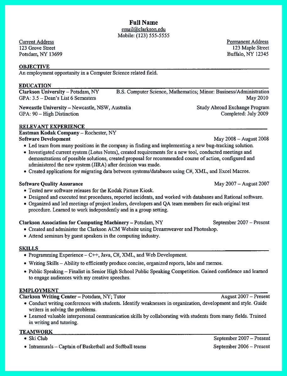 computer and information science resume