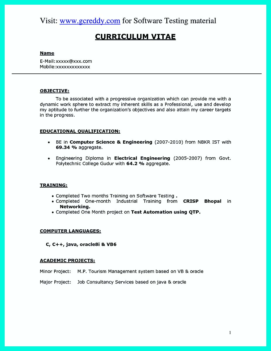 computer engineering resume format freshers