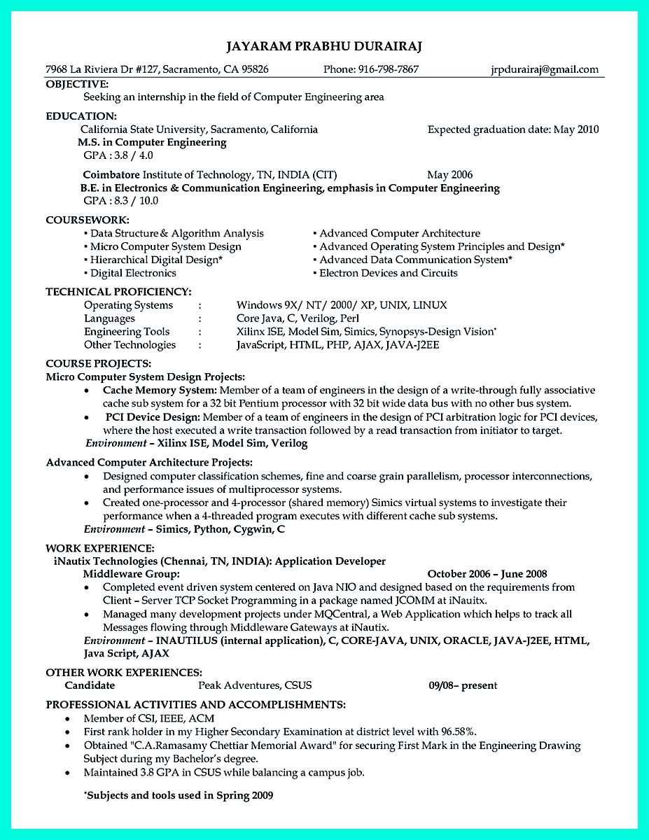 computer engineering resume objective examples