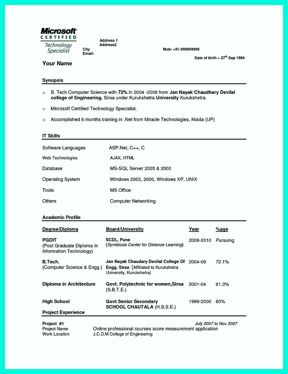 resume format for c s engineers best resume for computer science majors s computer science template net b tech it cv