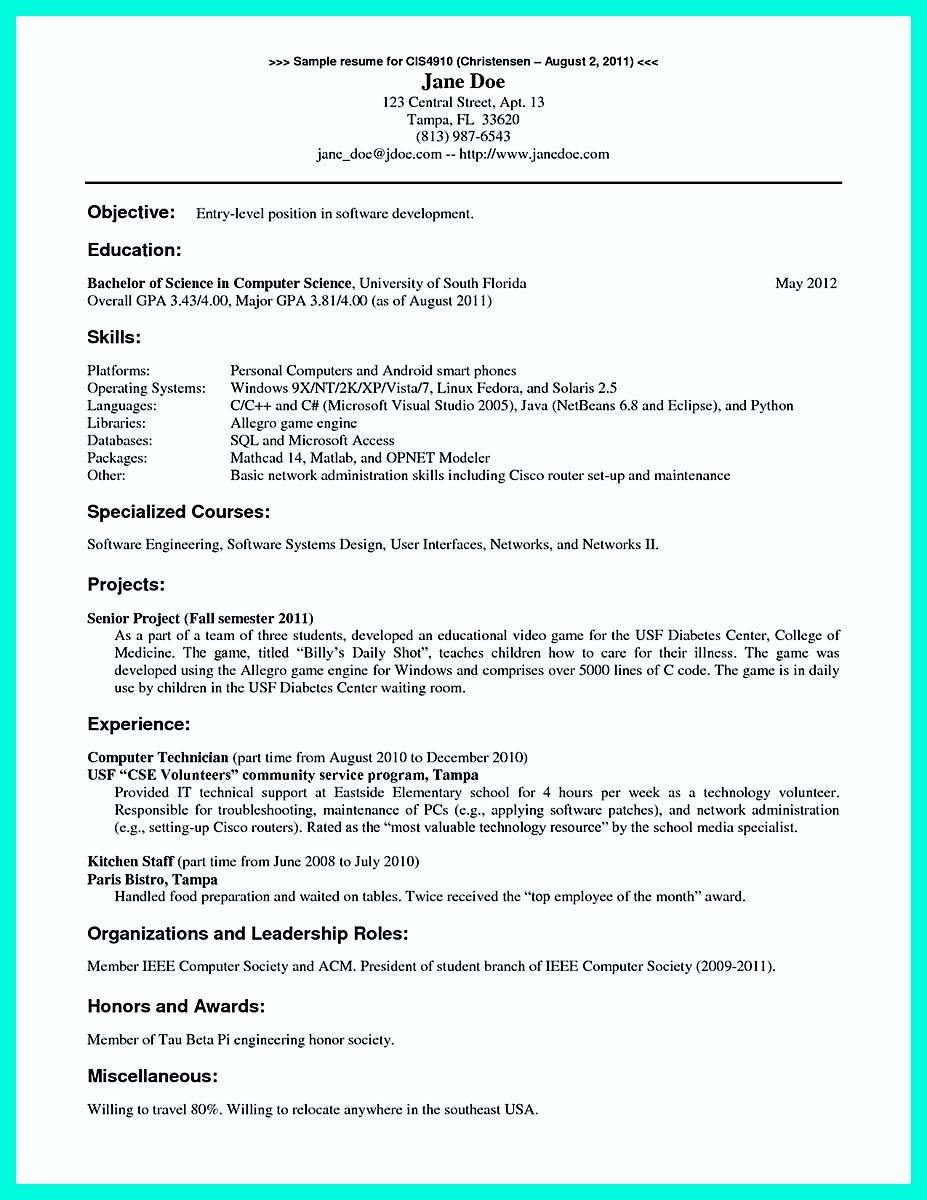 computer science academic resume