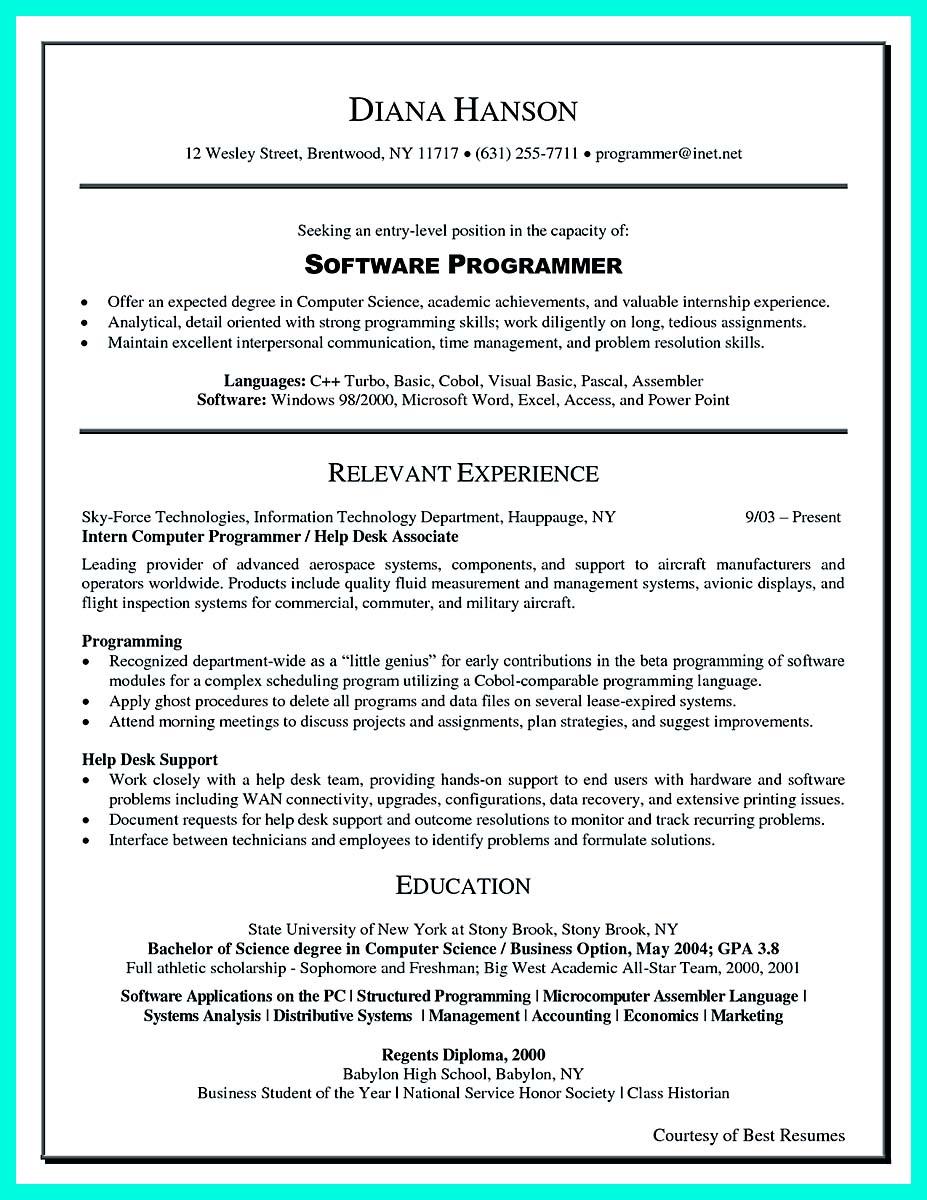 academic resume computer science and engineering resume format computer science and engineering resume