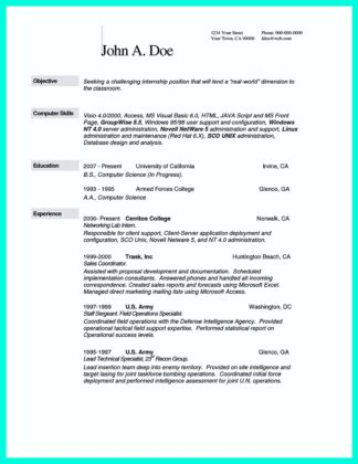 The Best Computer Science Resume Sample Collection  %Image Name