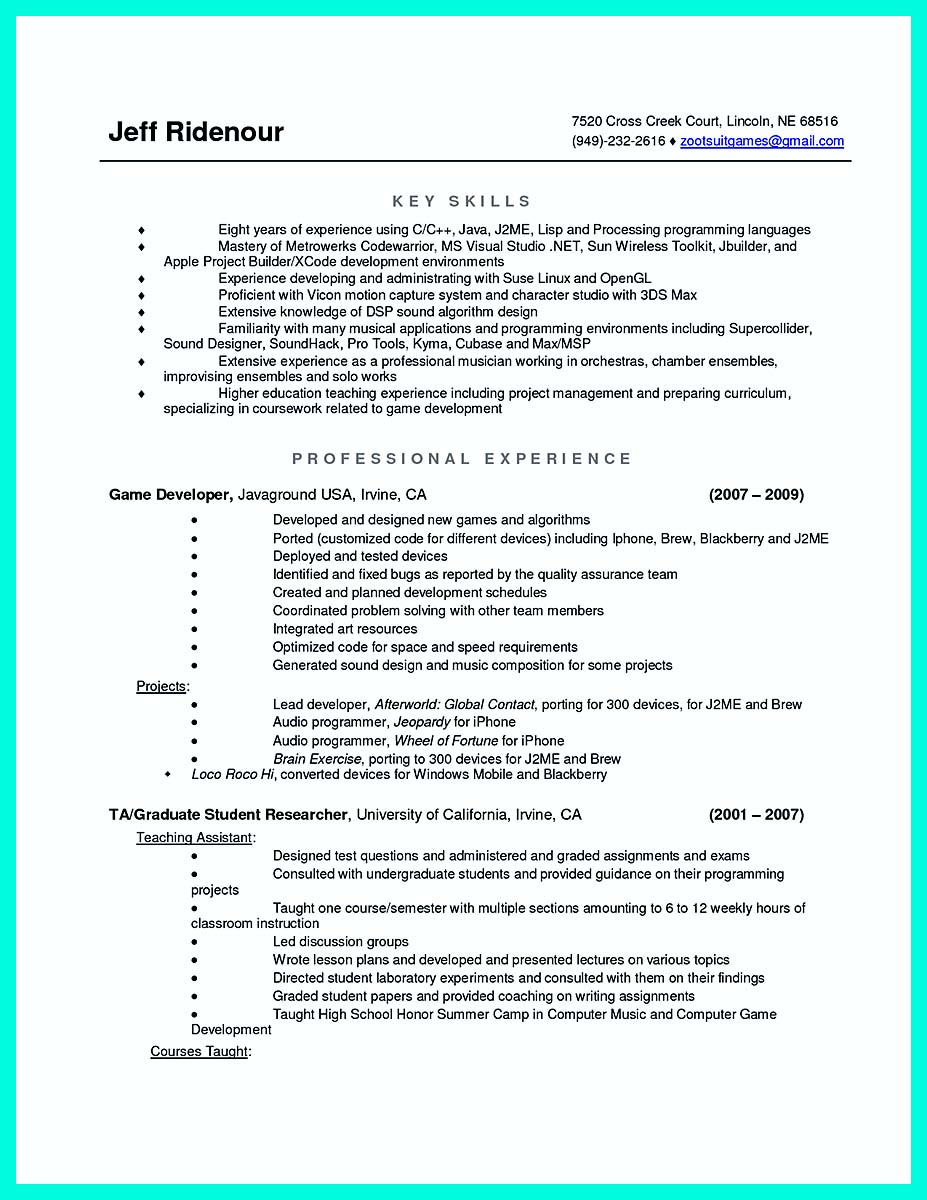computer science resume college
