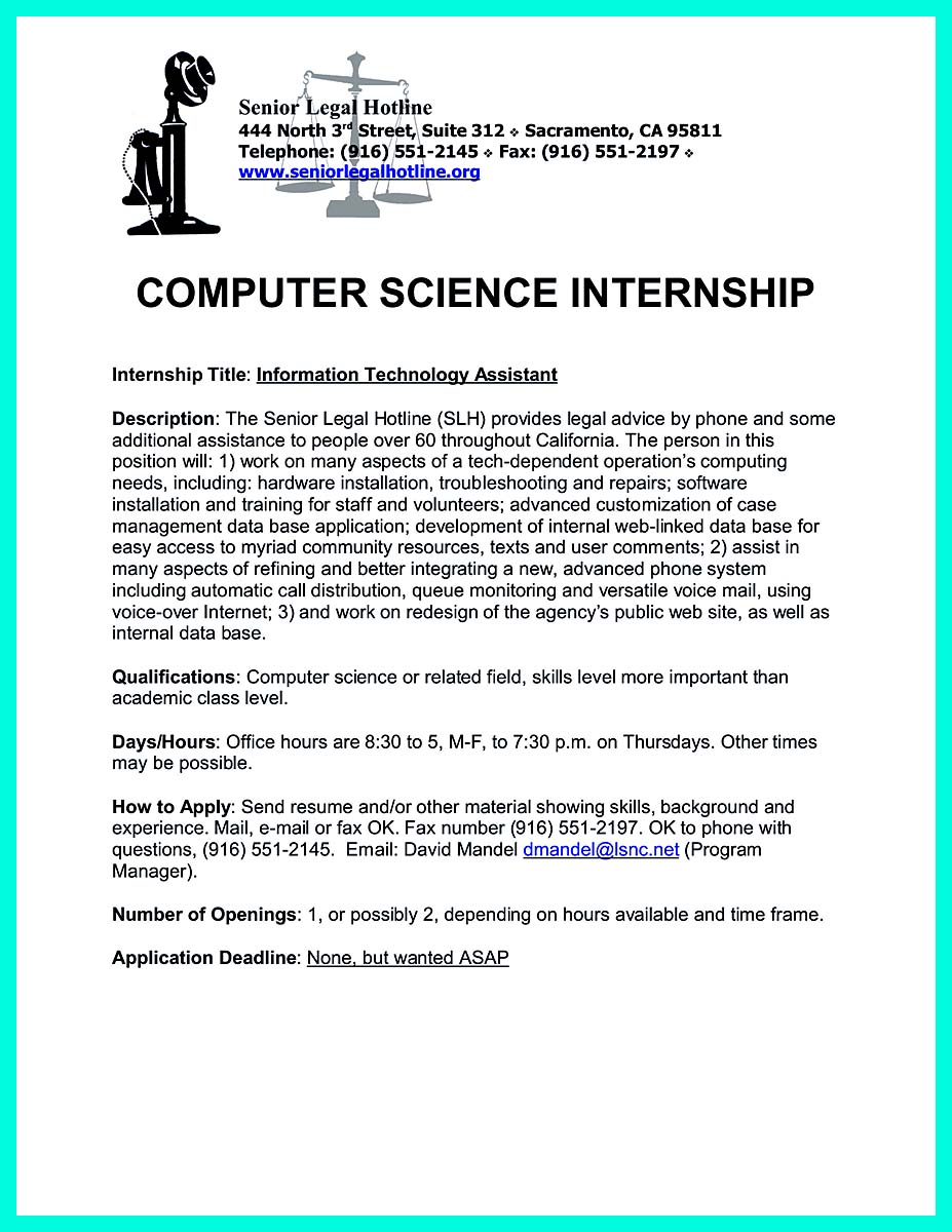 Cover Letter For Computer Science Internships