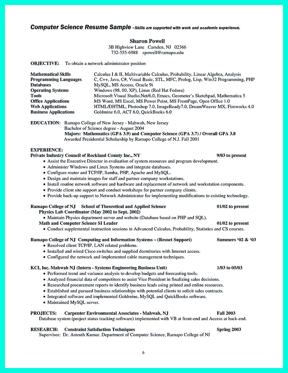 the best computer science resume sample collection how to write computer science resume tips