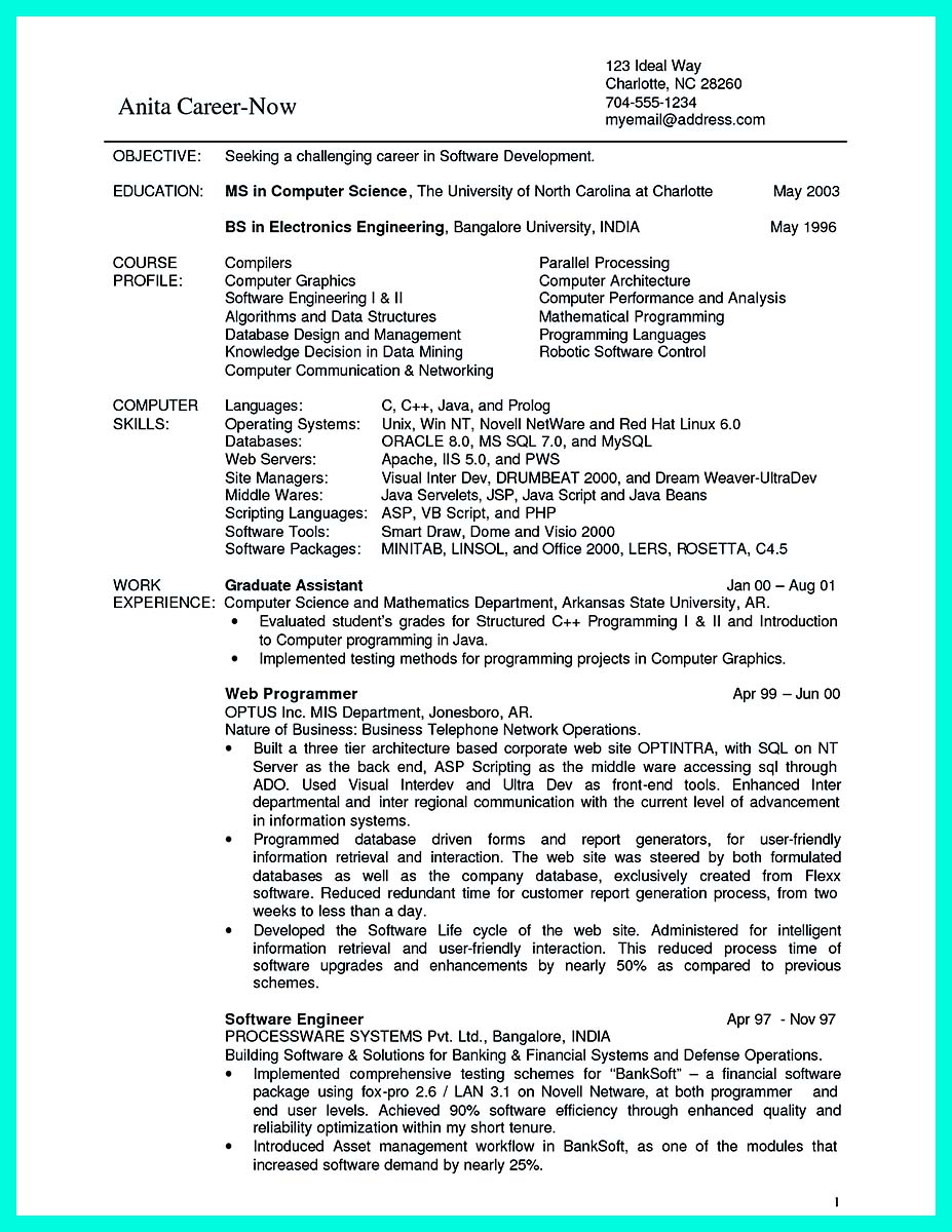 Computer Science Entry Level Resume Resume Examples Computer Science Entry  Level Resume Resume Examples  Computer Science Resumes