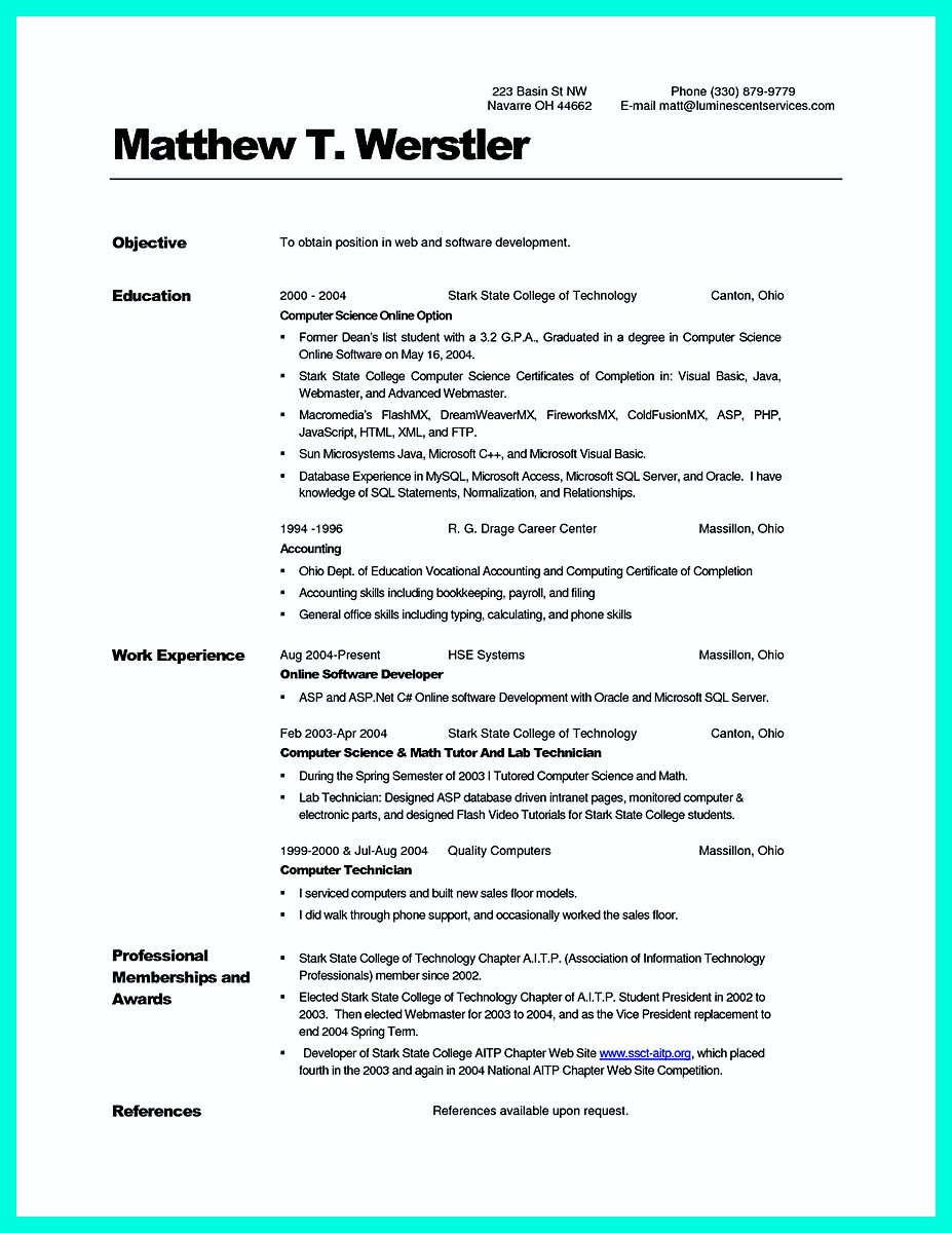 computer science resume words