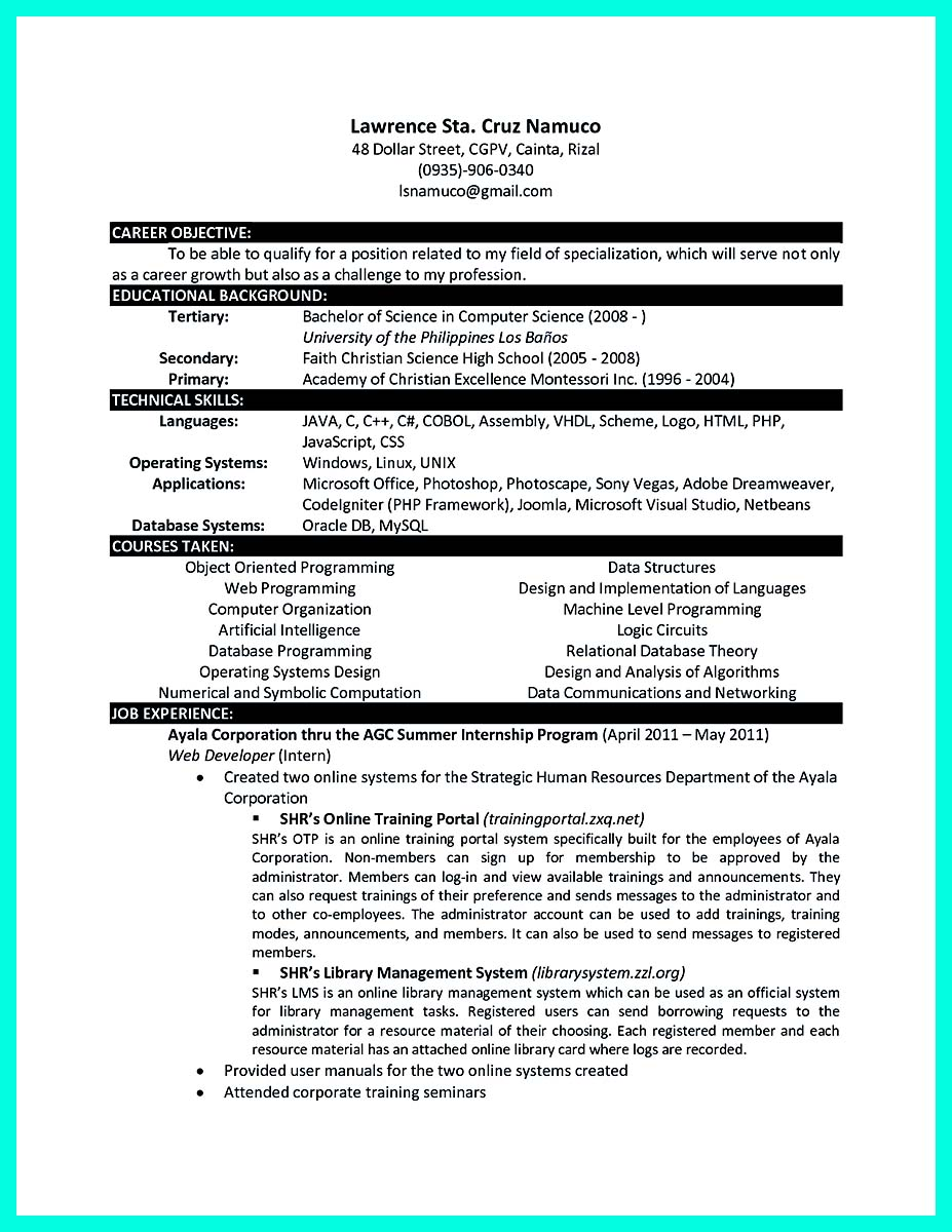 resume format for experienced assistant professor