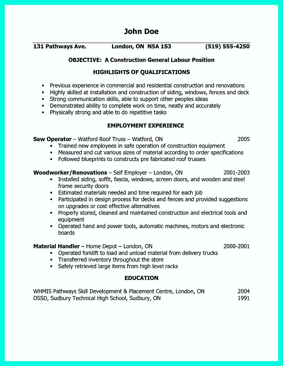construction laborer duties for resume