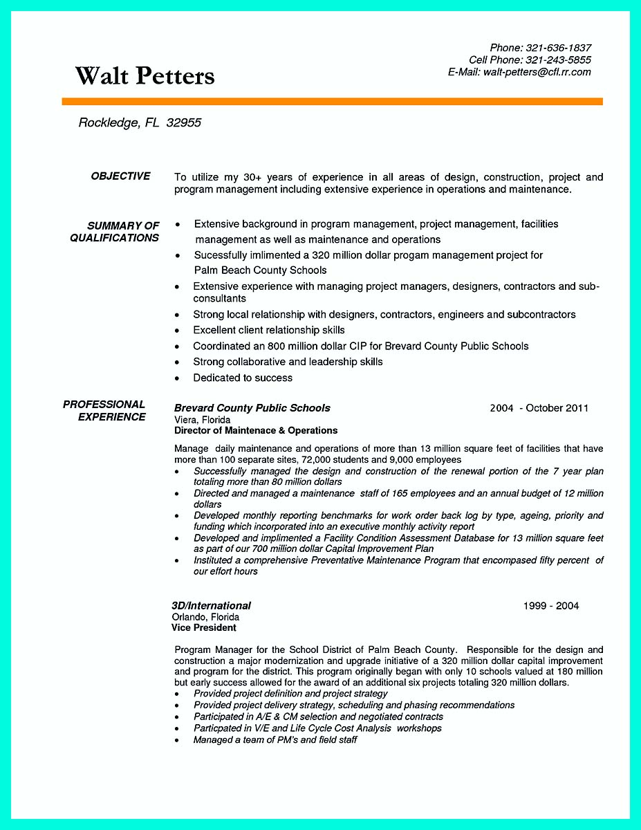 construction management resume examples