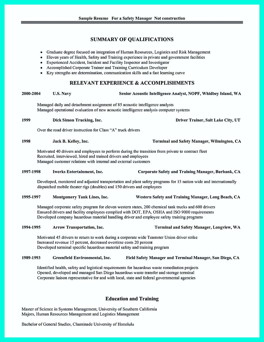 construction management resume job description