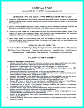 construction management resume objective examples
