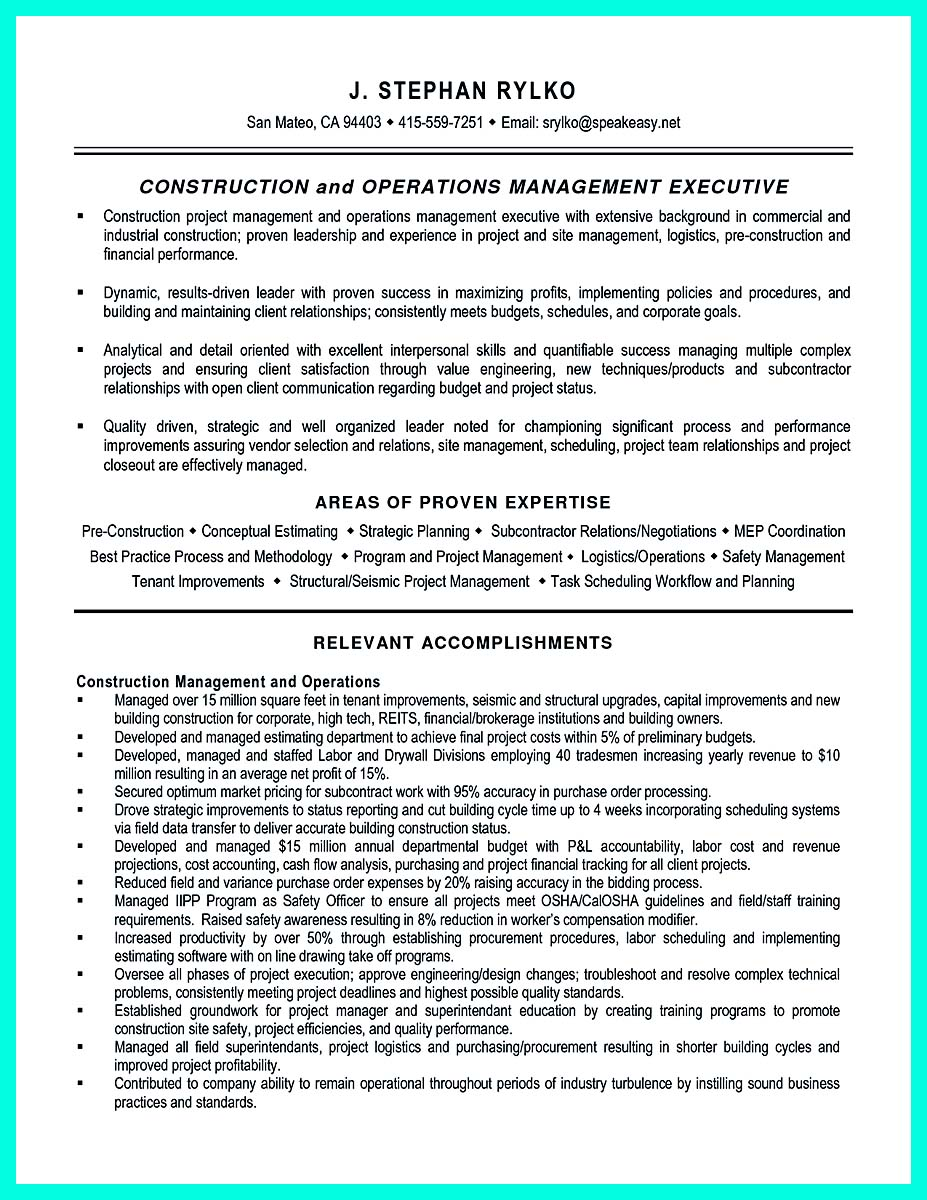 construction management resume objective examples - Program Manager Resume Sample