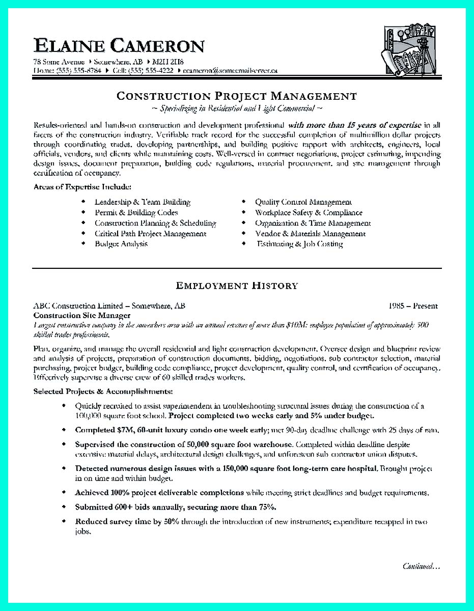 Simple Construction Superintendent Resume Example to Get Applied ...