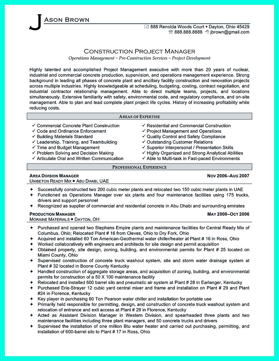 resume objective samples 325x420 construction management resume sample