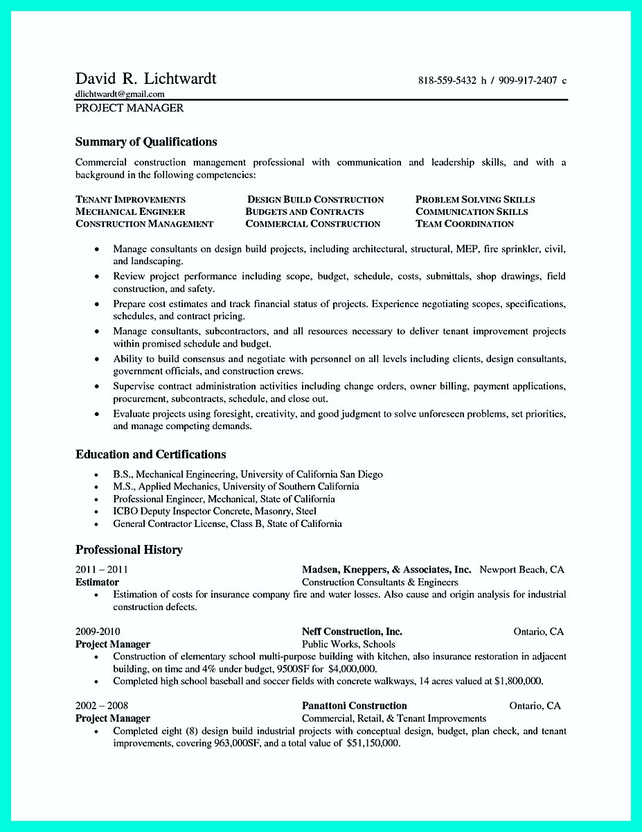 construction manager resume doc