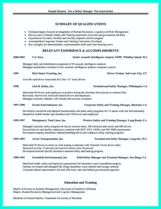 construction manager resume profile