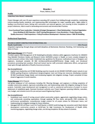 construction project manager resume description