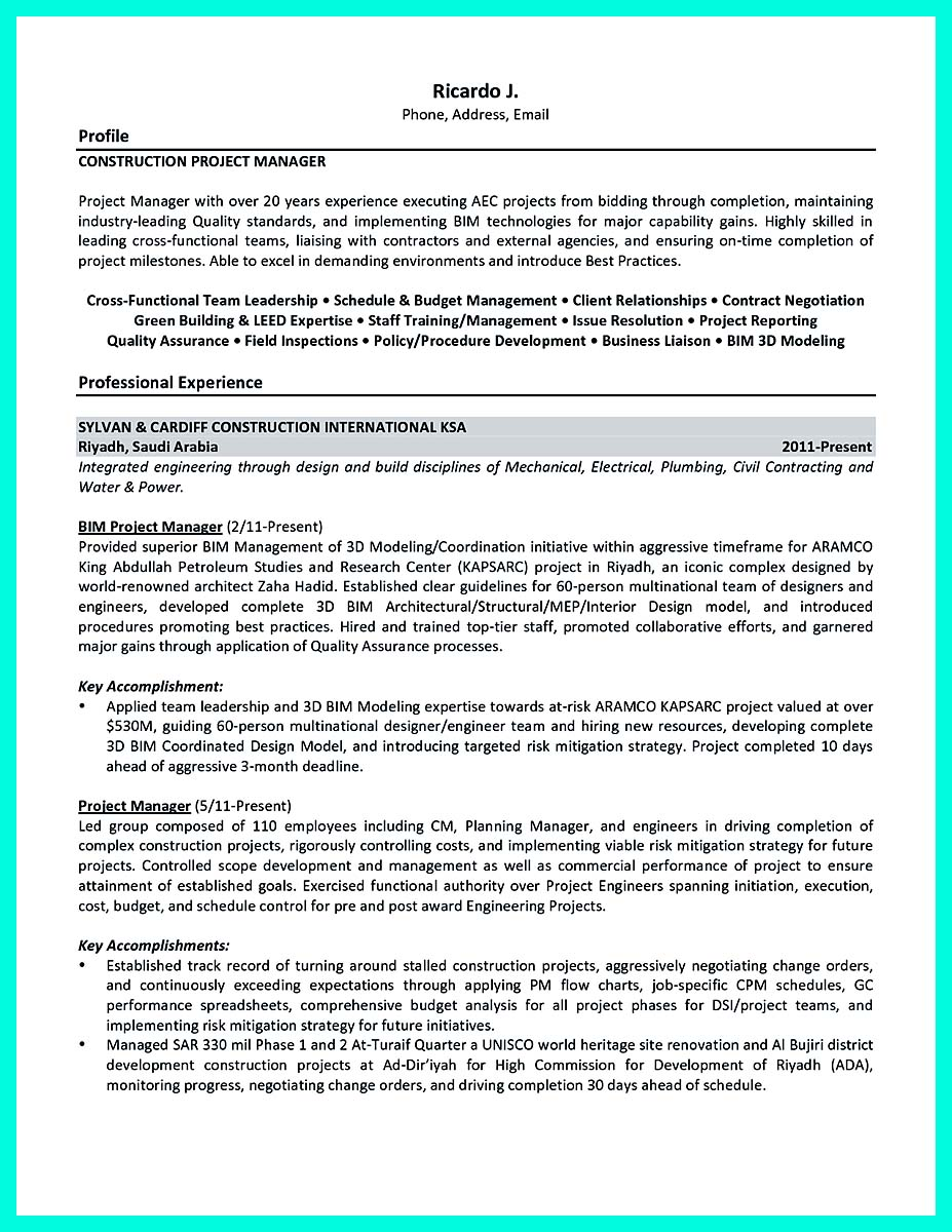 cool construction project manager resume to get applied how to construction project manager resume description construction project manager resume description
