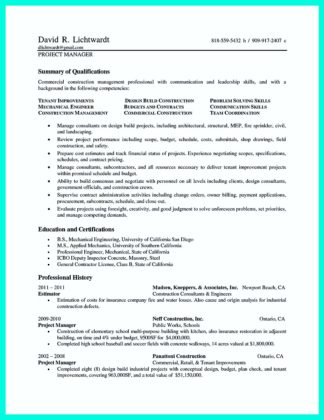 construction project manager resume doc