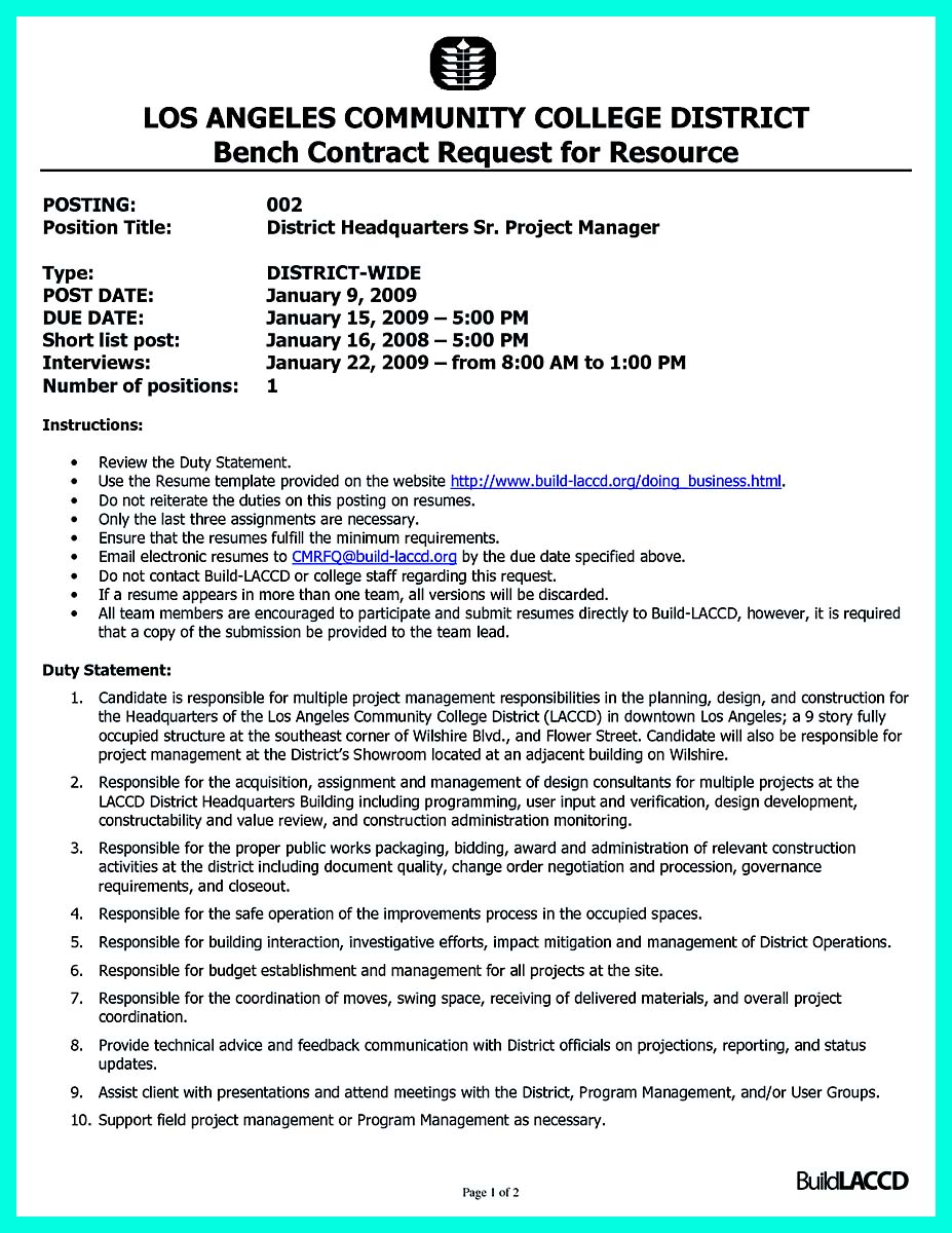 Resume Template Project Manager Construction