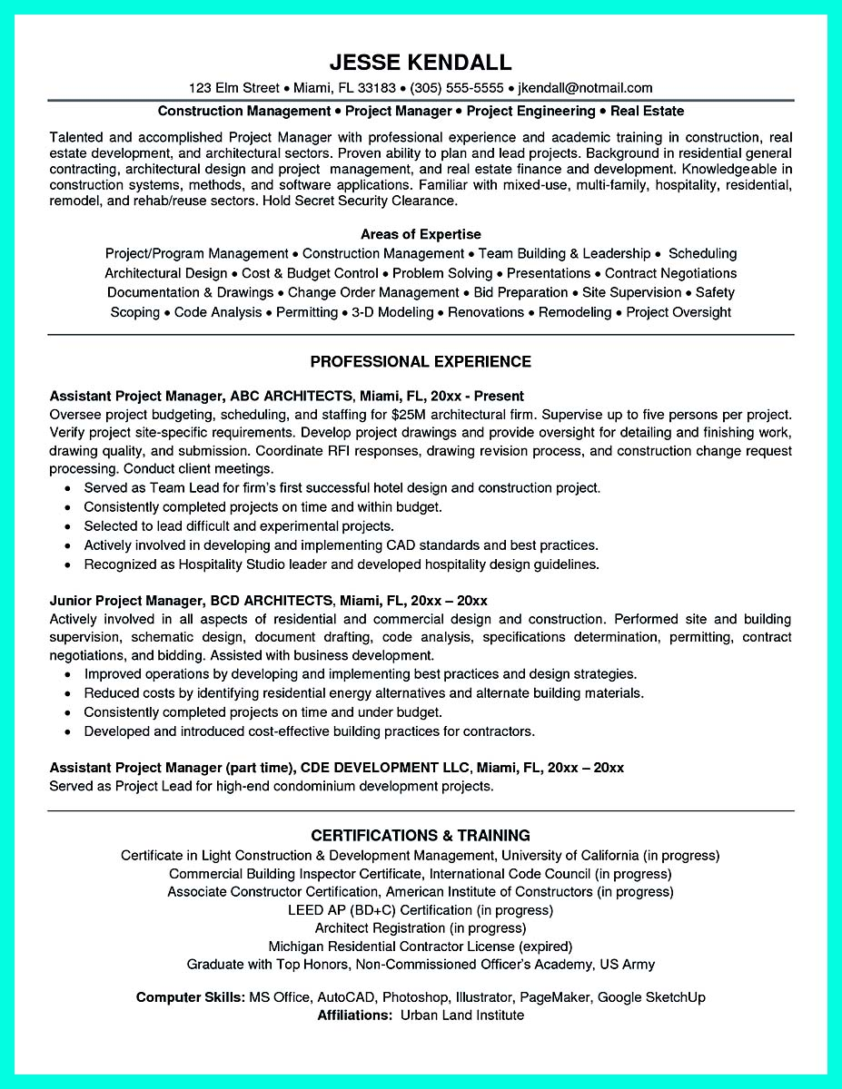 resume construction project manager resumes samples - Architectural Project Manager Resume
