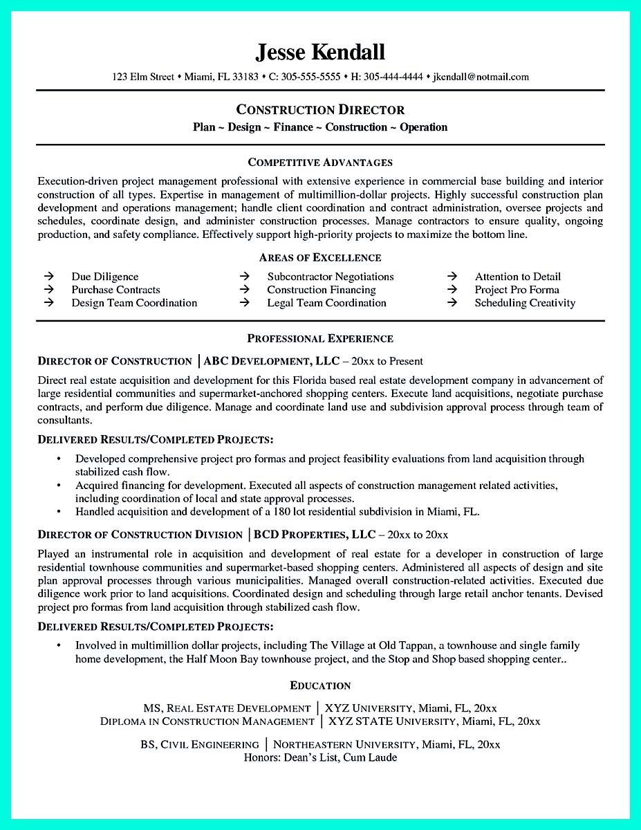 construction worker resume description