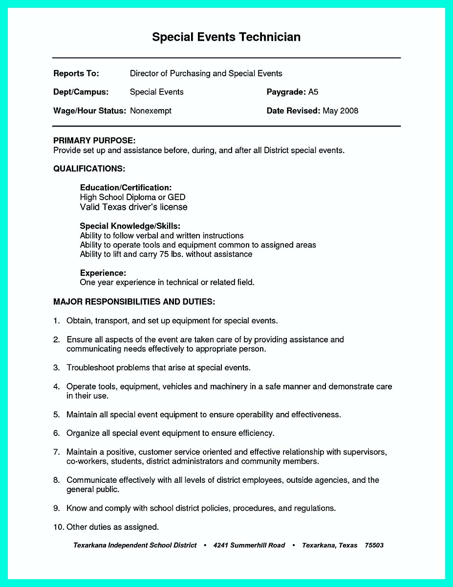 Resume Objective Examples For General Labor