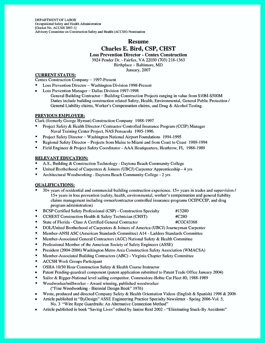 construction worker resume samples free