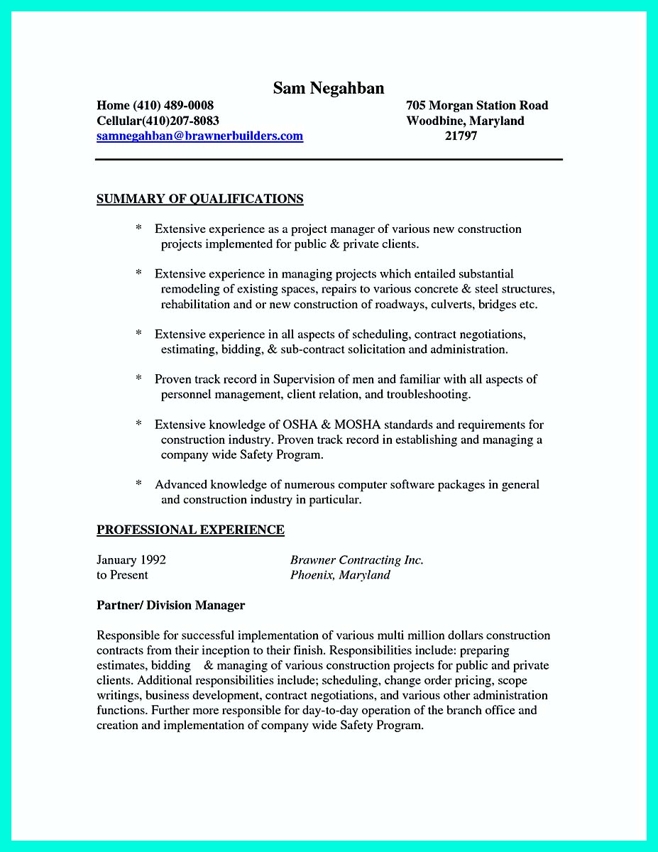 construction worker resume summary