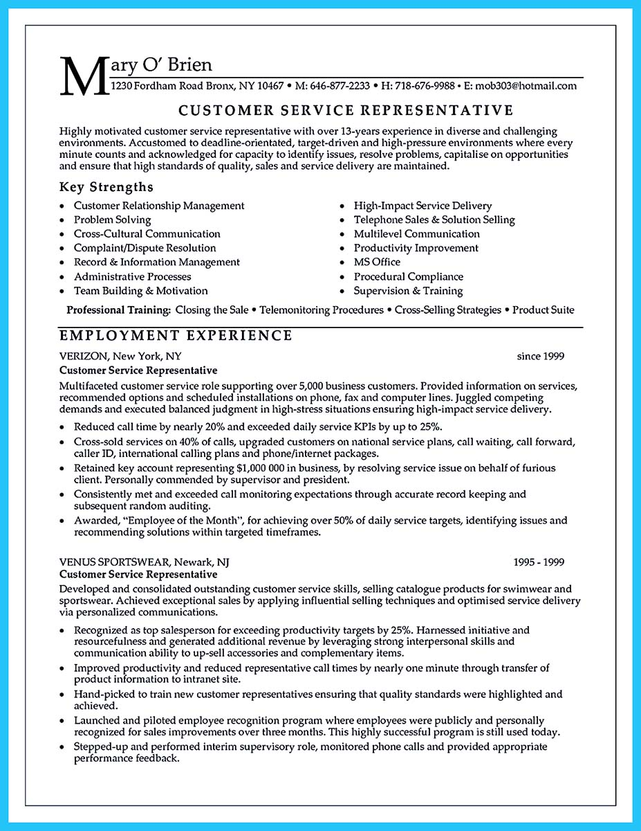 contact center resume sample