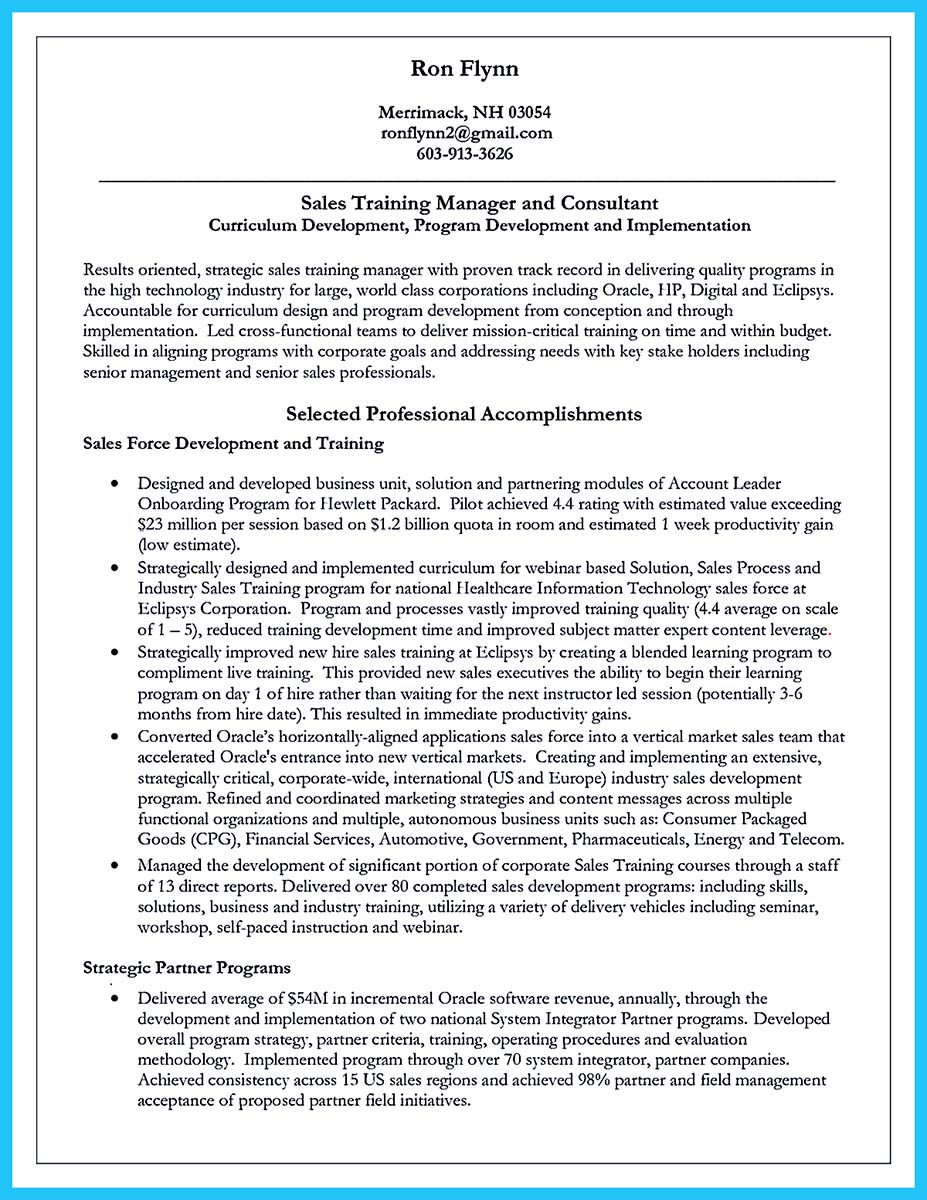 corporate trainer functional resume