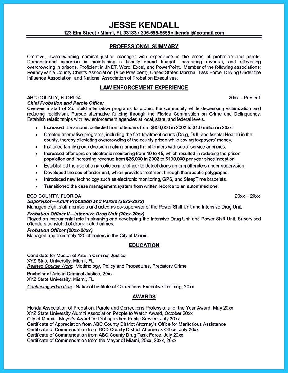 Correctional Officer Resume Entry Level