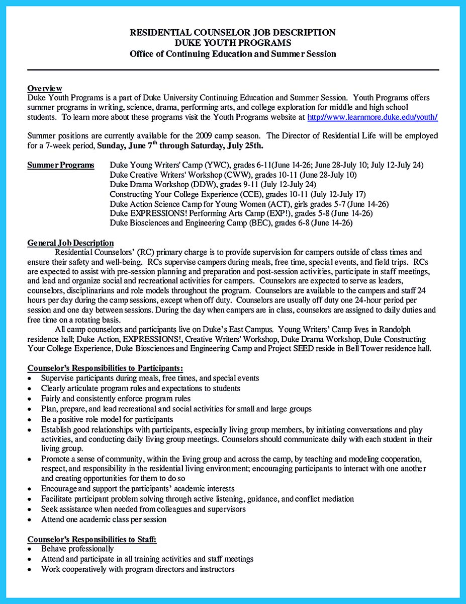 counseling resume cover letter