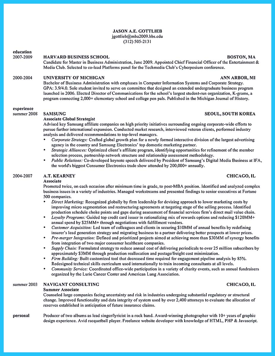 cox business school resume