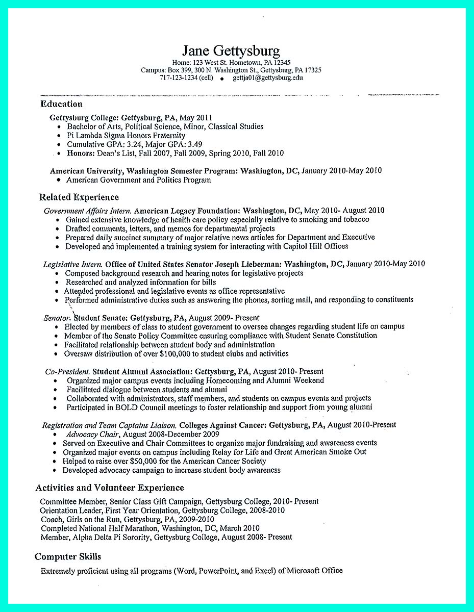 Create A College Resume Template