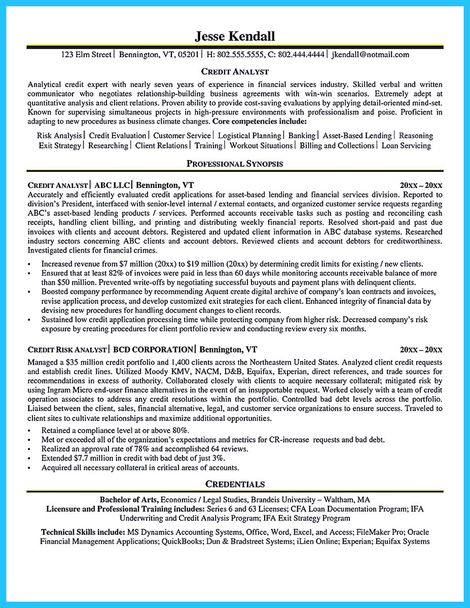 credit analyst resume india