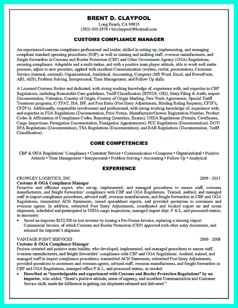credit union compliance officer resume