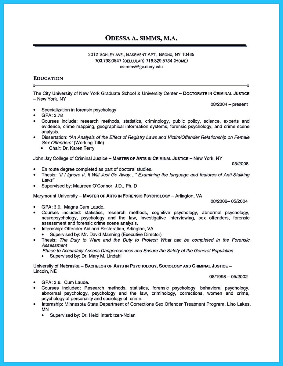 Best Criminal Justice Resume Collection