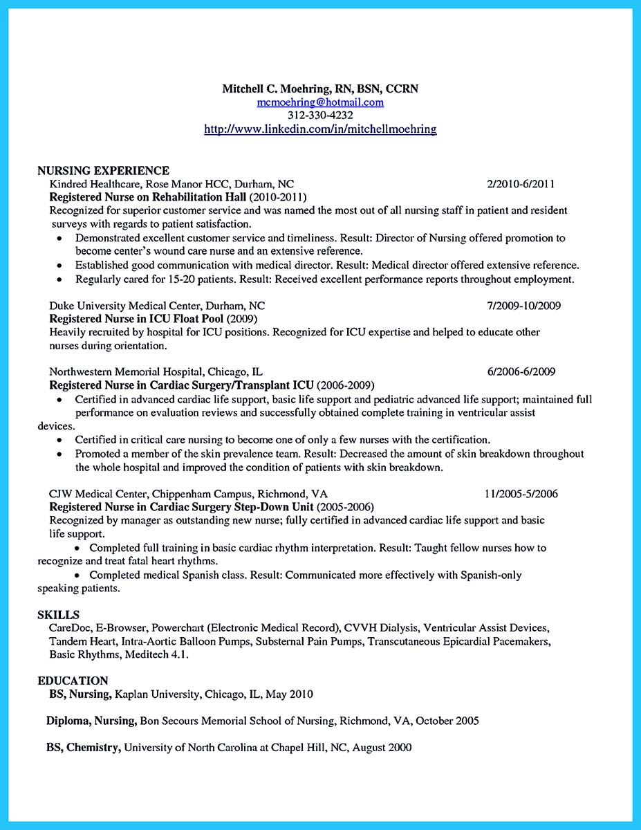 critical care nurse resume sample
