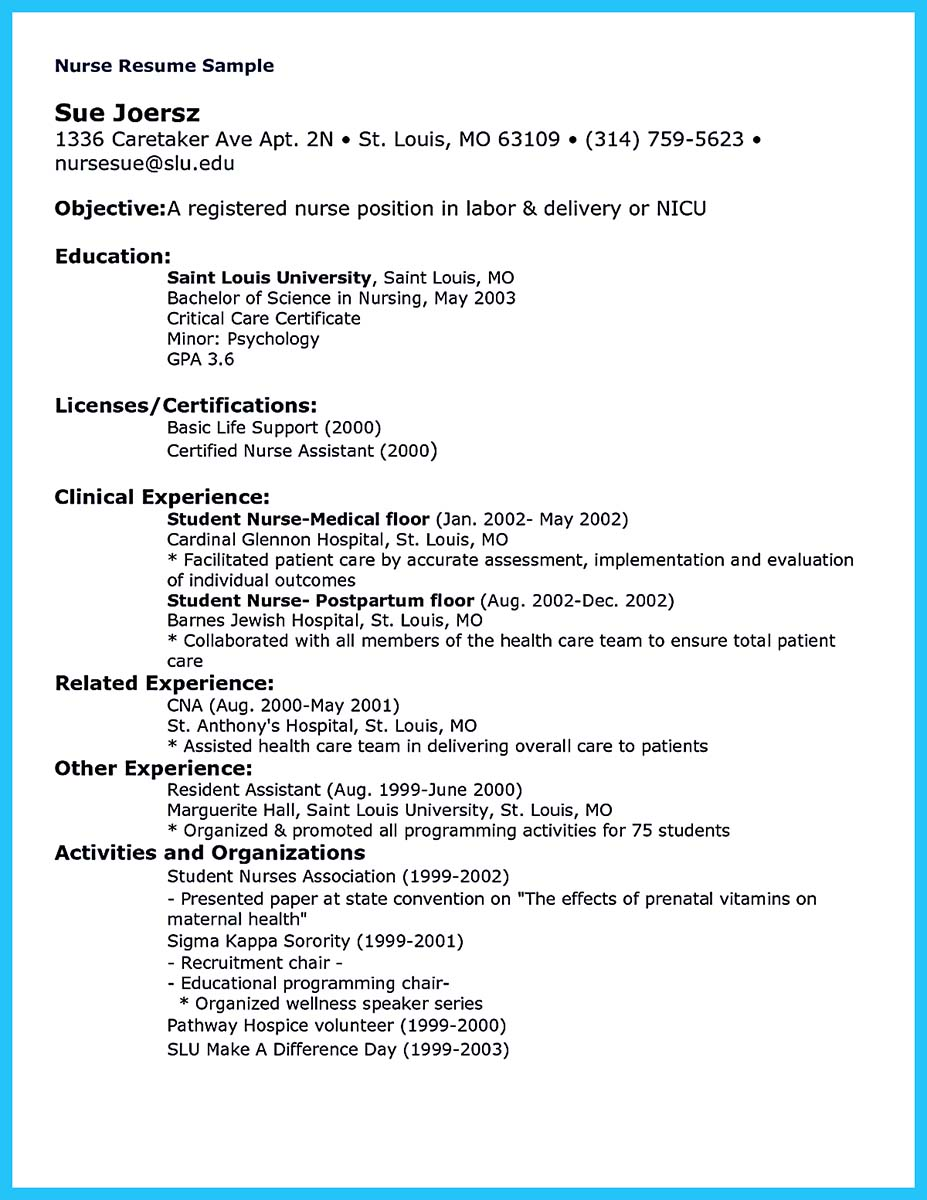 critical care nurse resume template - Nurse Resume Sample